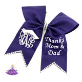 Purple Custom Graduation Cap Bow Personalized with Monogram and Thank you message for mom and dad