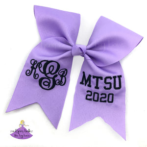 Lavender personalized graduation cap topper decoration with monogram and school letters