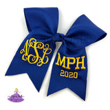 Royal blue and gold personalized graduation cap topper bow with monogram and school letters