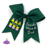 Forest Green Custom Grad Cap Decoration Bow for Teacher or Future Educator with Pencils and Name