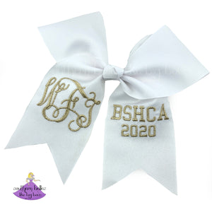 Personalized White and Metallic Gold Custom Graduation Cap Decoration Bow with Monogram and School Letters 2020