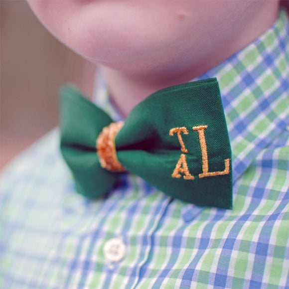Green Bow Tie for St. Patrick's Day Personalized with Gold Monogram