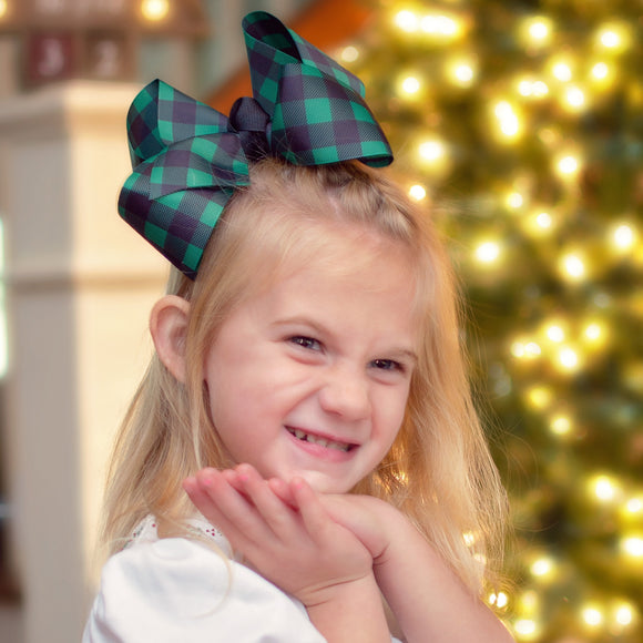 Green and Black Buffalo Plaid Hair Bow for Christmas