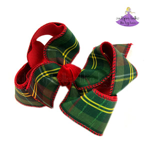 Green Christmas Plaid Bow - Small to Medium