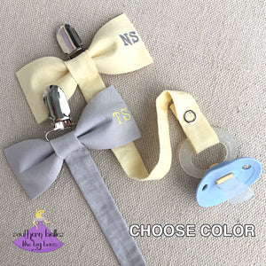 Personalized Bow Tie Pacifier Clip for Boy Baby Shower