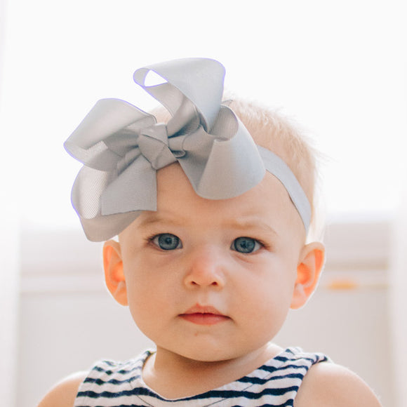 Gray Headband Bow for baby girl made in the boutique bow style
