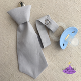 Grey Necktie Pacifier Clip for Baby Boy Gift