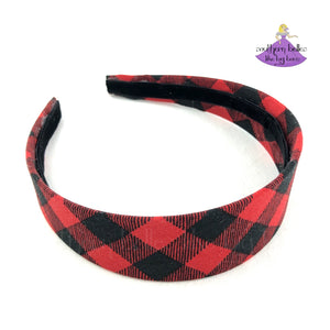 Buffalo plaid hard headband for girls, teens, or adults in red and black checks