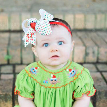 Polka Dot Christmas Baby Bow Headband with Personalized Initial Letter