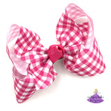 Big Hot Pink Plaid Checked Boutique Hair Bow
