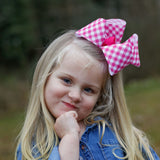 Hot Pink and White Checked Plaid Boutique Bow