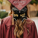 Graduation Cap Decoration Bow with Monogram and School Letters or Degree and Grad Year