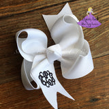 Custom White Boutique Bow with Embroidered Monogram