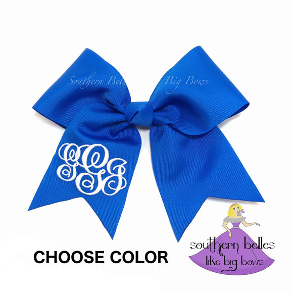 Personalized Cheer Bow with Monogram (Various Colors)