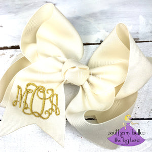 Ivory Monogrammed Bow with Metallic Gold Thread