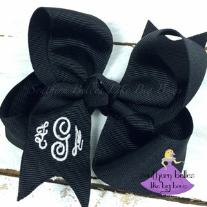 Black Monogrammed Bow -Small to Medium