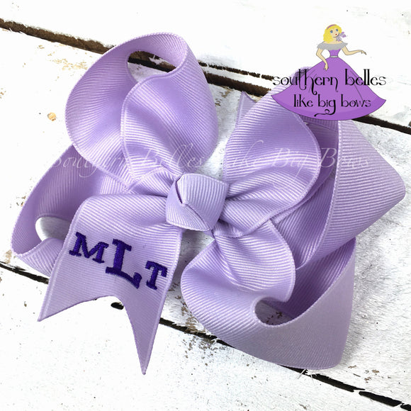 Lavender Monogrammed Bow in Classic Block Letters -Small to Medium