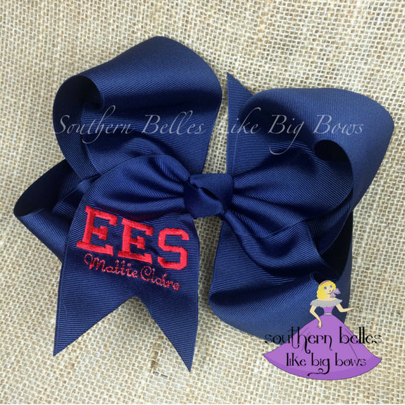 Jumbo Monogrammed Bow with Varsity Letters