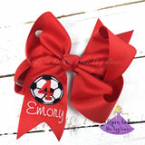 Personalized Custom Soccer Bow with Name and Number in Various Colors to Match Team