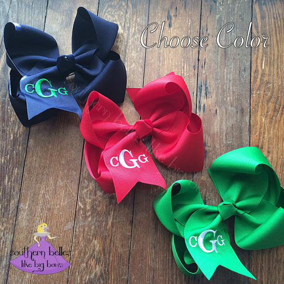 Jumbo Monogrammed Bow in Classic Block Letters