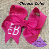 Monogrammed Bow with Stacked Block Letters in Large