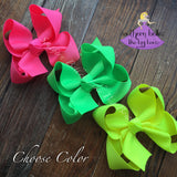 Neon Orange Hair Bow - Small to Medium