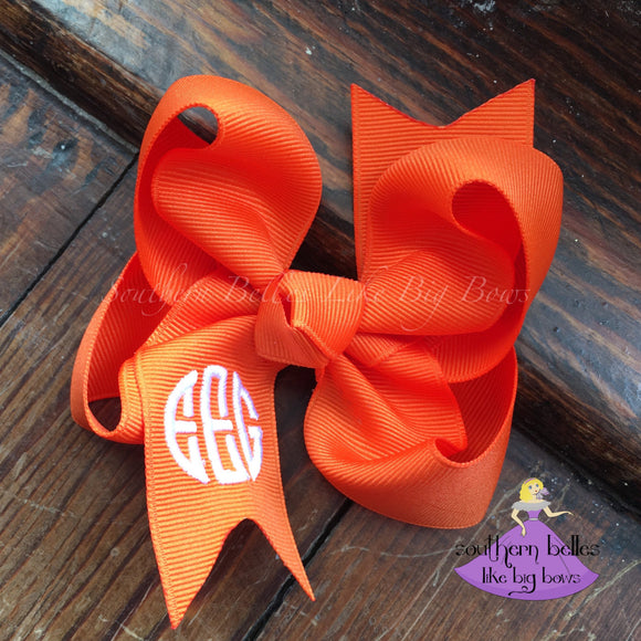 Orange Monogrammed Bow with Circle Font -Small to Medium