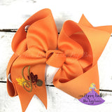 Personalized Fall Leaves Hair Bow with Metallic Gold Initial Letter