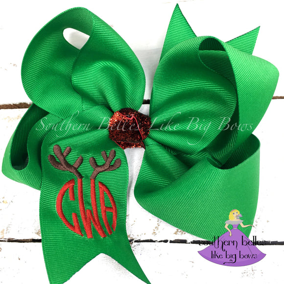 Personalized Christmas Reindeer Hair Bow with Monogram