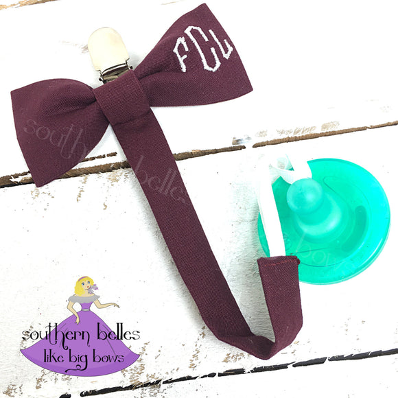 Monogrammed Bow Tie Pacifier Clip for Boy