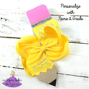 Personalized Back to School Pencil Bow with Grade and Name