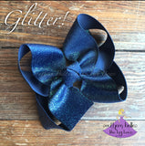 Navy Glitter Bow - Small to Medium