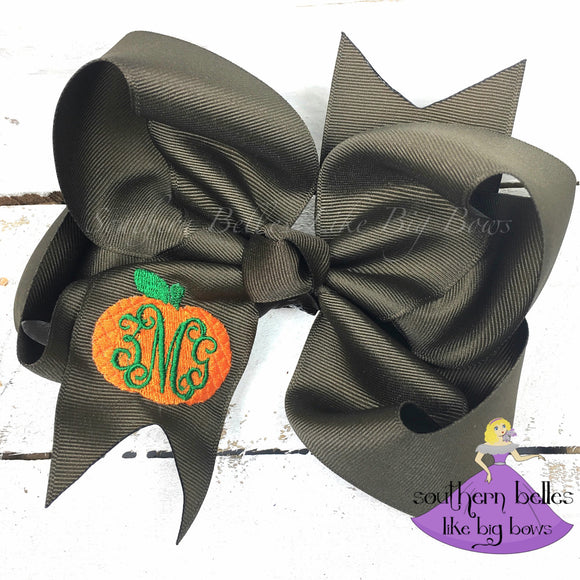 Thanksgiving Pumpkin Hair Bow with Vine Monogram