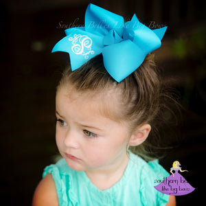 Turquoise Monogrammed Bow in Large