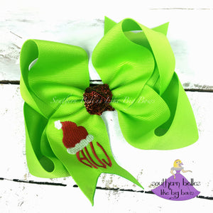 Bright Green Santa Hat Hair Bow with Monogram
