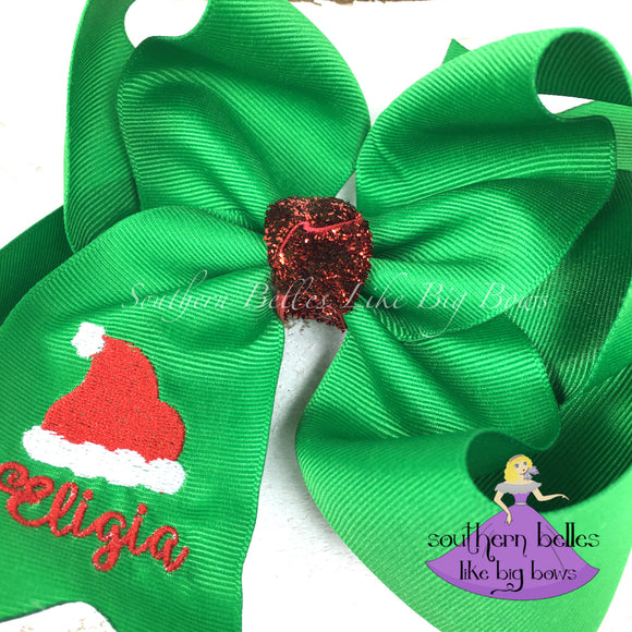 Green Santa Hat Hair Bow Personalized with Name