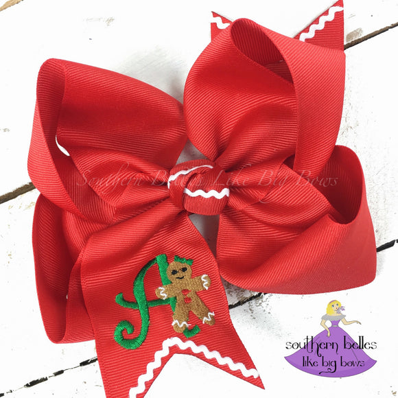 Personalized Christmas Bow with Gingerbread Cookie on Red Boutique Bow
