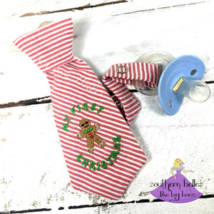 First Christmas Necktie Pacifier Clip for Baby Boy
