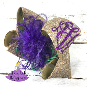 Big Gold Mardi Gras Bow with Glitter Monogram