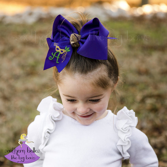Big purple Mardi Gras bow with mask and personalized with an initial letter