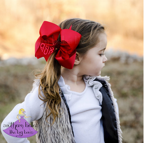 Valentines Bow with Heart Monogram