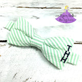 Seersucker Bow Tie with Vertical Monogram