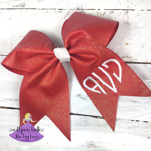 Red Glitter Cheer Bow with Heart Monogram