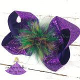 Mardi Gras Bow with Feathers