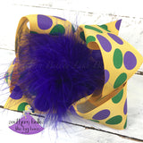 Polka Dot Mardi Gras Day Bow with Feather Center