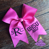 Pink Personalized Graduation Cap Bow with Fishtail Font Monogram