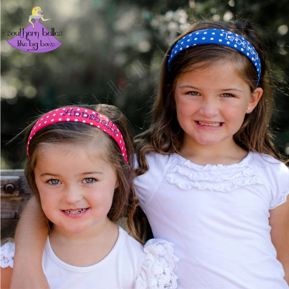 Personalized Polka Dot Hard Headband for Girl (Multiple Color Options)