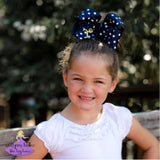 Navy Polka Dot Hair Bow