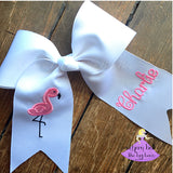 Big Flamingo cheer bow personalized with name or monogram
