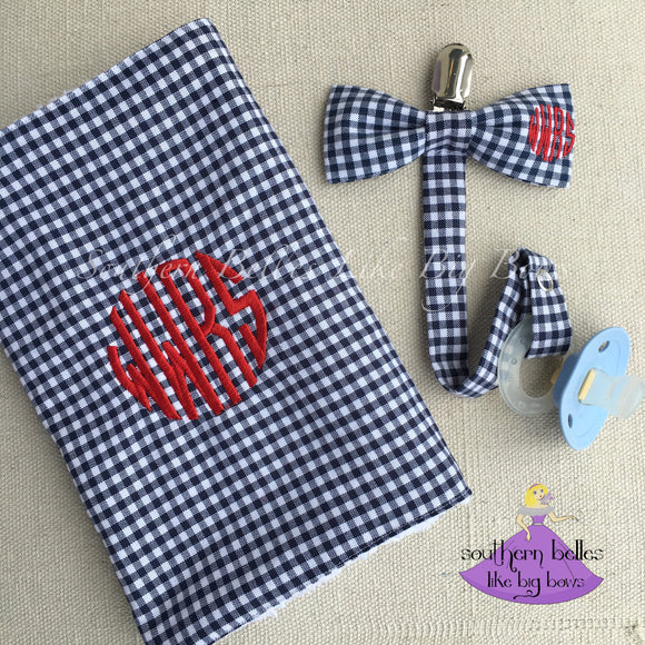 Personalized Baby Boy Gift - Checked Plaid Bow Tie Pacifier Clip with with Burp Cloth (Various Colors)